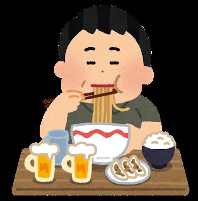 イラスト:太った男性がラーメン、ご飯、餃子、ビールを食している